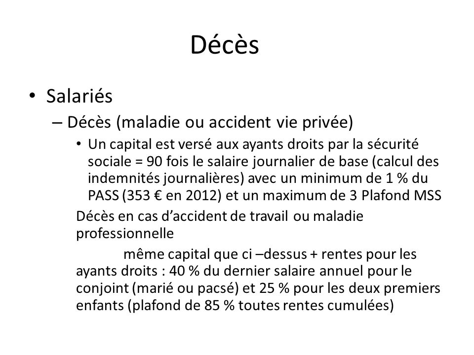 Introduction prestations en esp ce contrat dommages - Plafond annuel de la securite sociale 2012 ...
