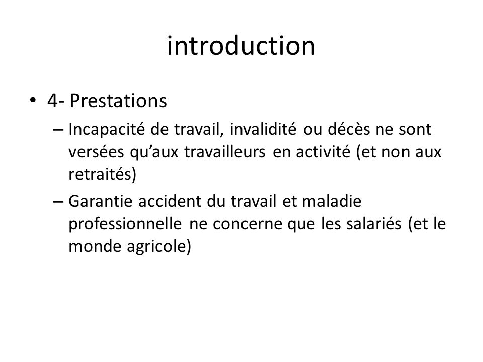 introduction 4- Prestations