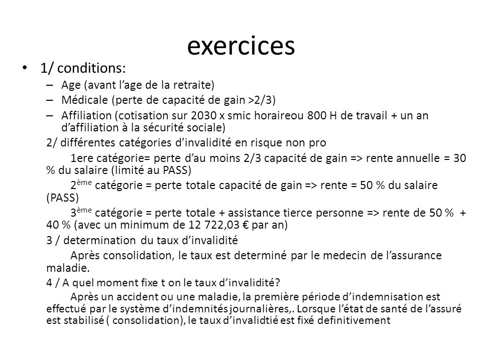 exercices 1/ conditions: Age (avant l'age de la retraite)