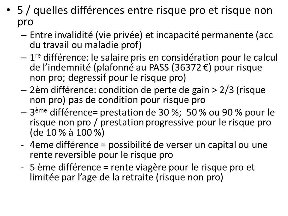 5 / quelles différences entre risque pro et risque non pro