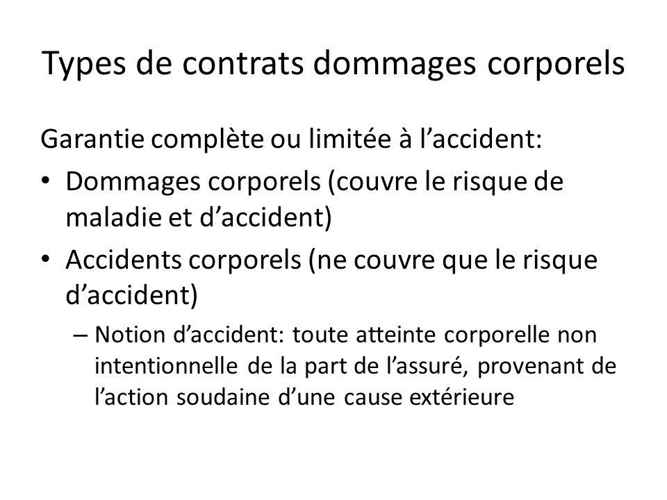 Types de contrats dommages corporels