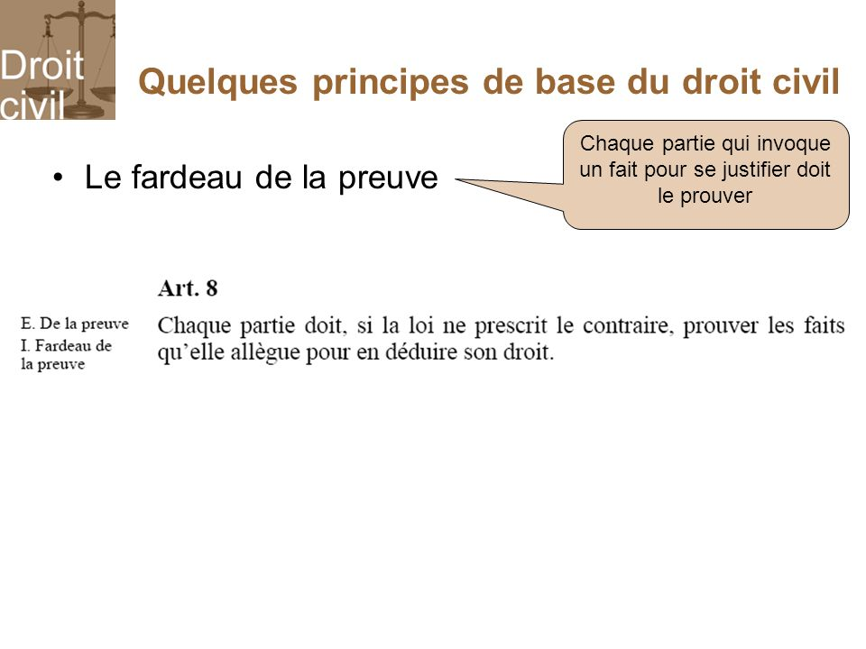Quelques principes de base du droit civil