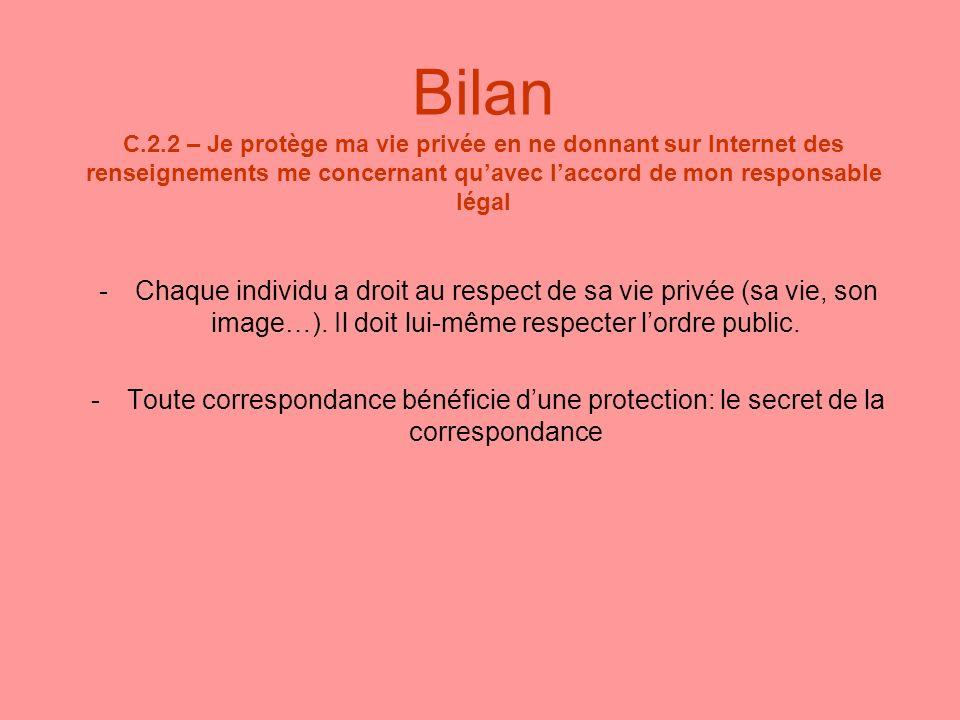 Bilan C.2.2 – Je protège ma vie privée en ne donnant sur Internet des renseignements me concernant qu'avec l'accord de mon responsable légal