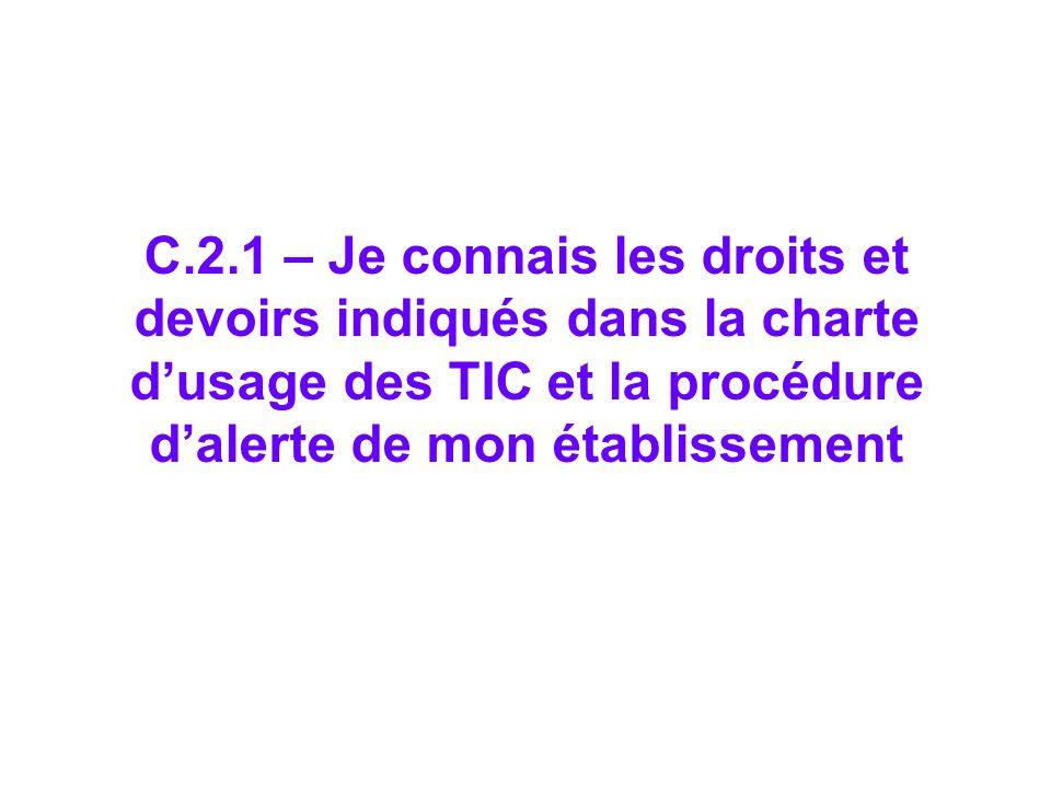 C.2.1 – Je connais les droits et devoirs indiqués dans la charte d'usage des TIC et la procédure d'alerte de mon établissement