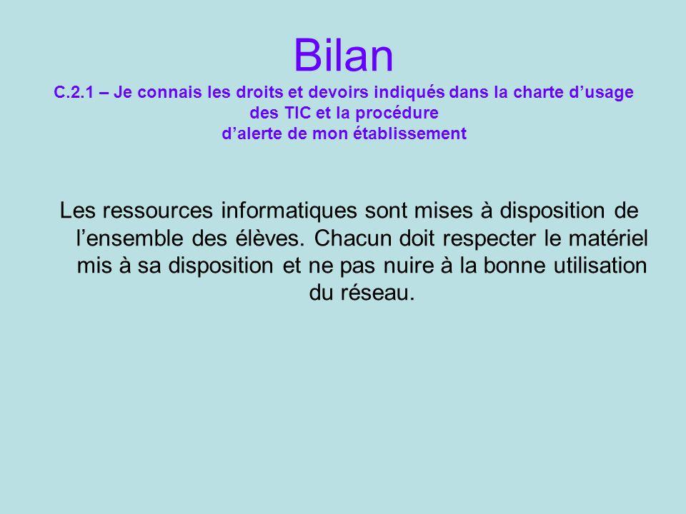 Bilan C.2.1 – Je connais les droits et devoirs indiqués dans la charte d'usage des TIC et la procédure d'alerte de mon établissement