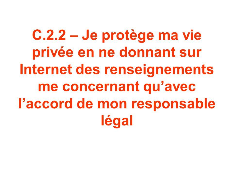 C.2.2 – Je protège ma vie privée en ne donnant sur Internet des renseignements me concernant qu'avec l'accord de mon responsable légal