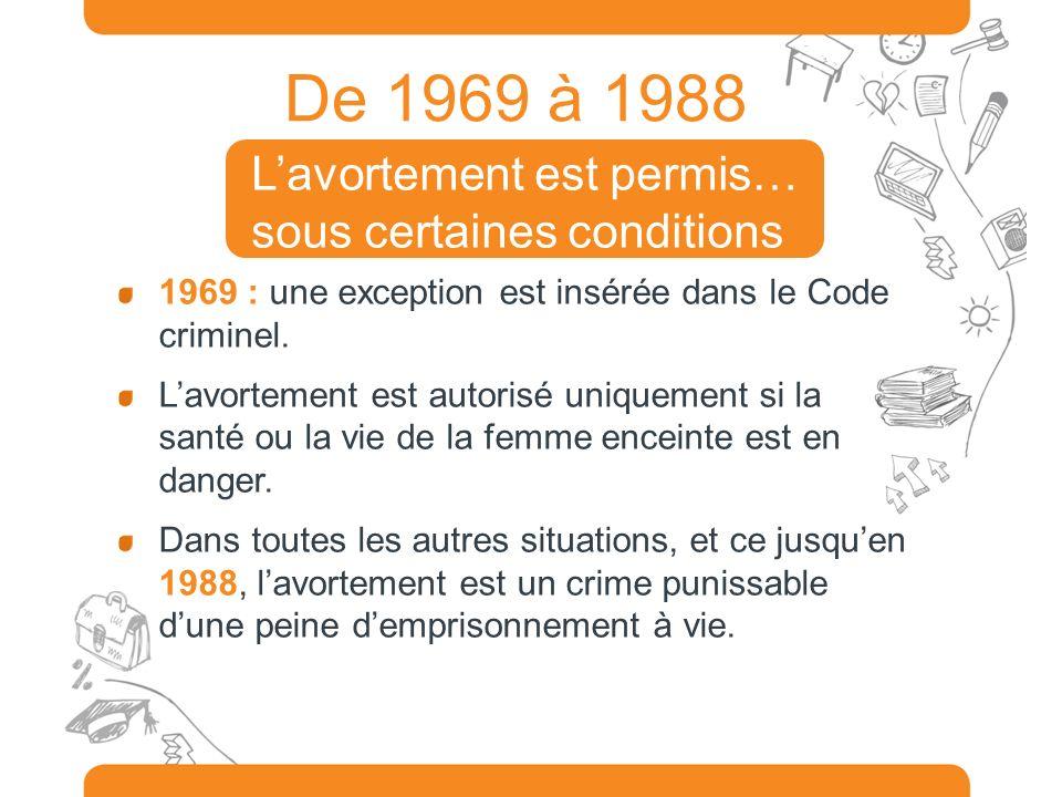 De 1969 à 1988 L'avortement est permis… sous certaines conditions
