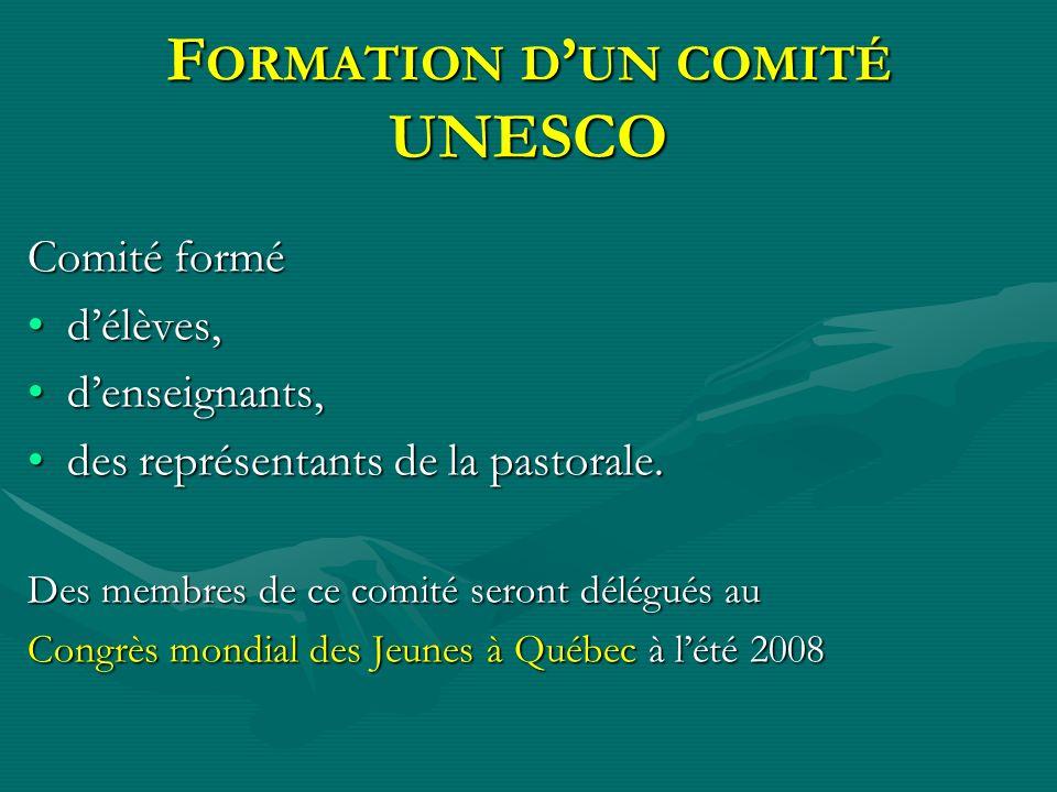 Formation d'un comité UNESCO