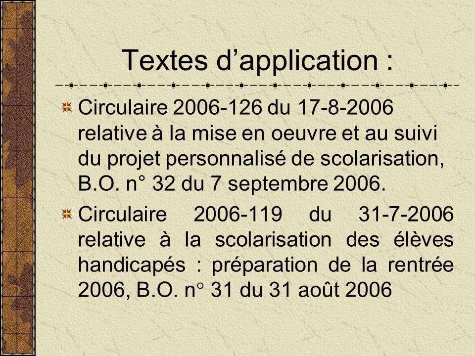 Textes d'application :
