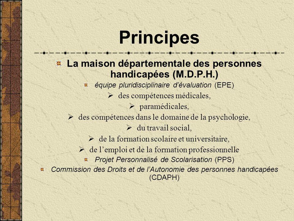 Principes La maison départementale des personnes handicapées (M.D.P.H.) équipe pluridisciplinaire d'évaluation (EPE)