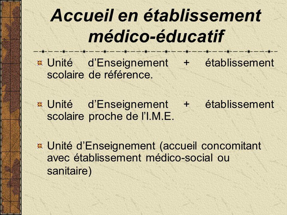 Accueil en établissement médico-éducatif