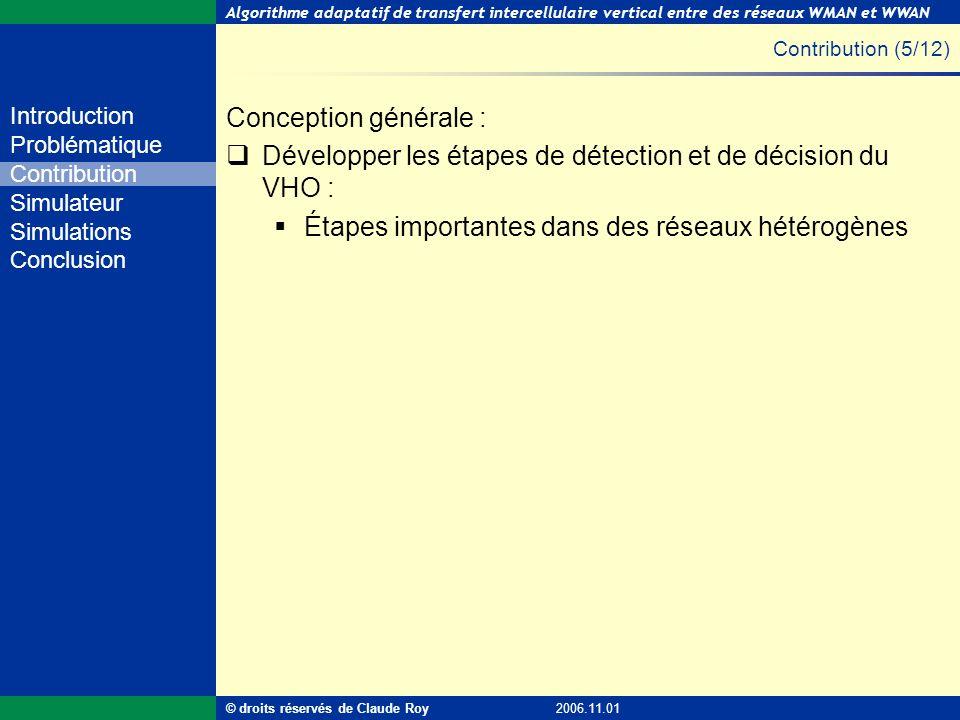 Développer les étapes de détection et de décision du VHO :