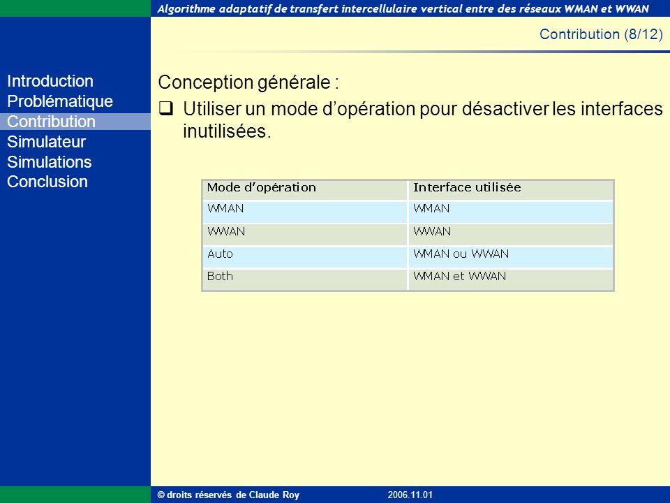 Contribution (8/12) Conception générale : Utiliser un mode d'opération pour désactiver les interfaces inutilisées.