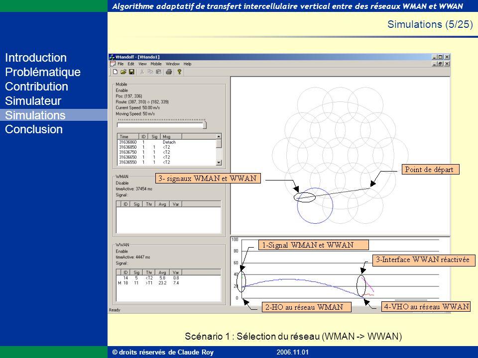 Simulations (5/25) Scénario 1 : Sélection du réseau (WMAN -> WWAN)