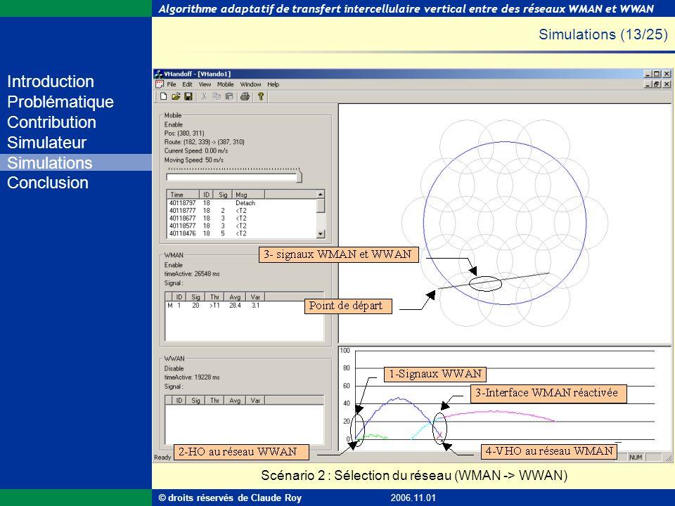 Simulations (13/25) Scénario 2 : Sélection du réseau (WMAN -> WWAN)