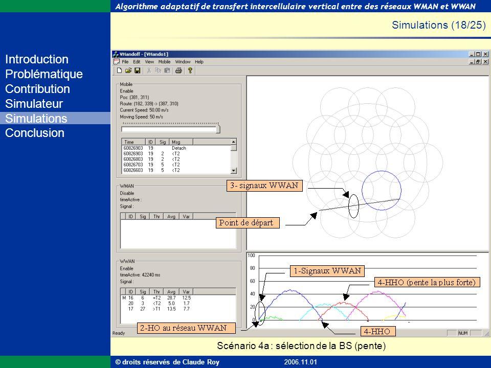 Simulations (18/25) Scénario 4a : sélection de la BS (pente)