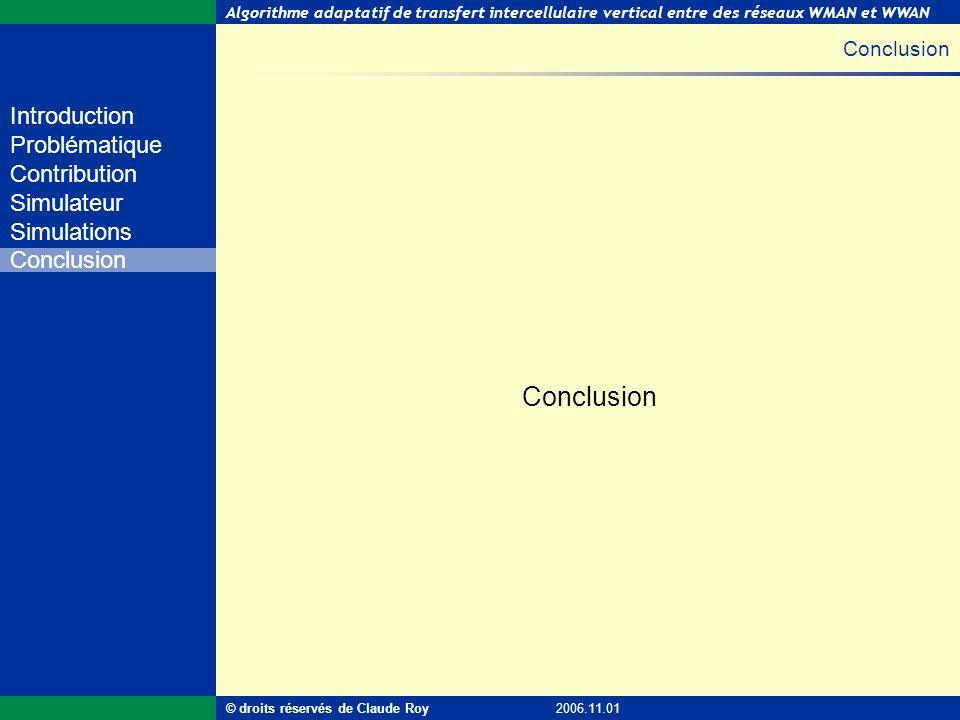 Conclusion Conclusion © droits réservés de Claude Roy 2006.11.01