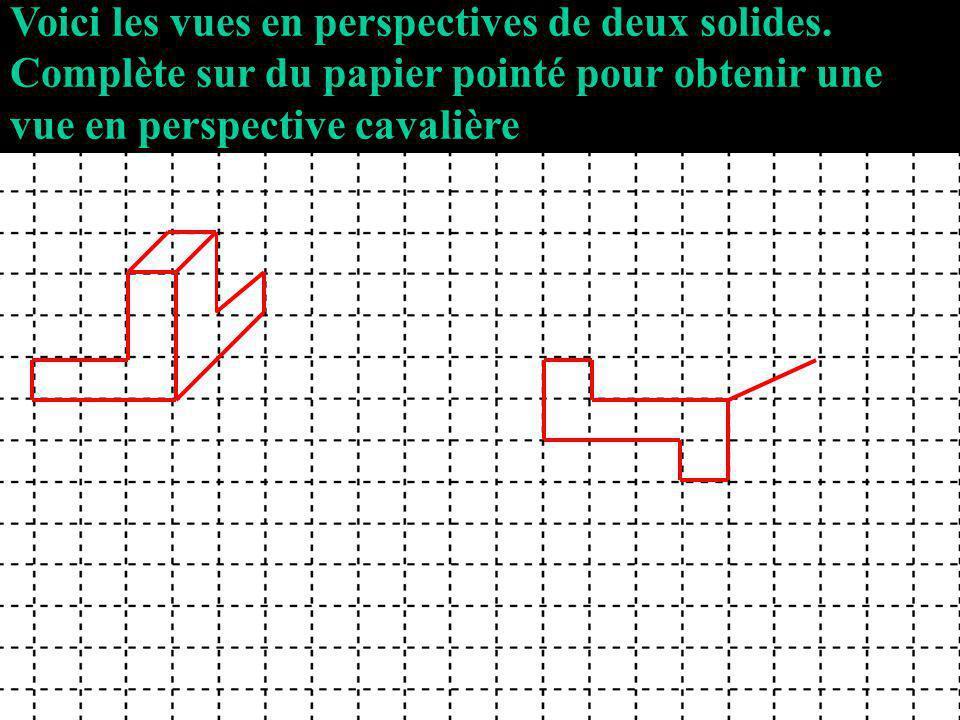 Voici les vues en perspectives de deux solides