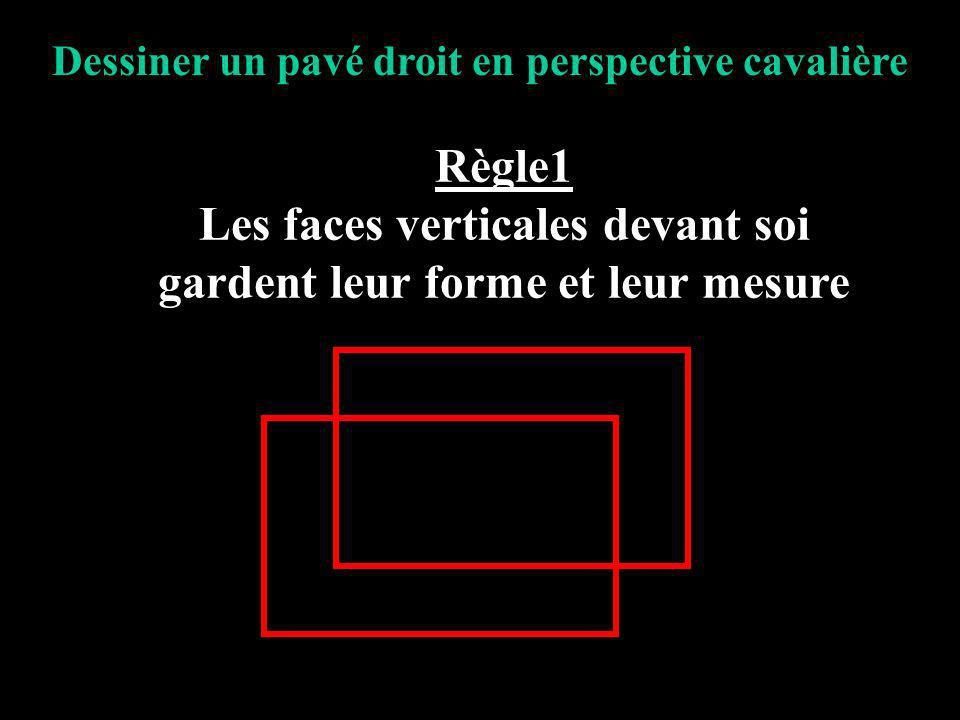 Les faces verticales devant soi gardent leur forme et leur mesure