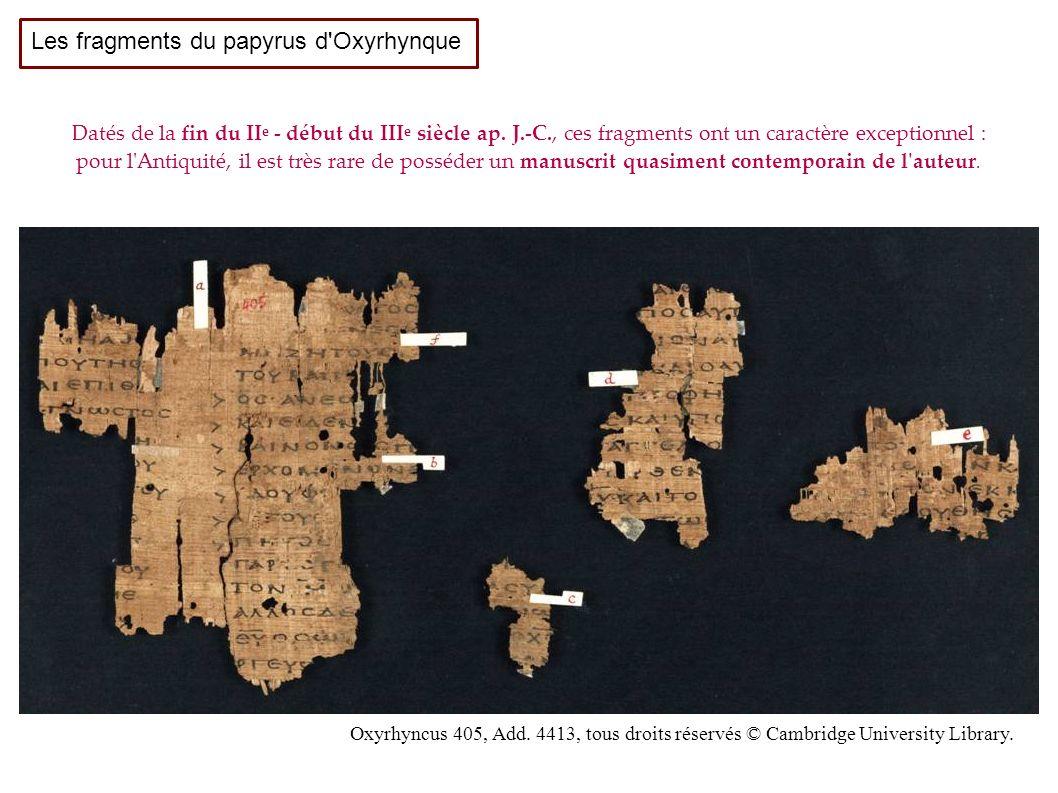 Les fragments du papyrus d Oxyrhynque