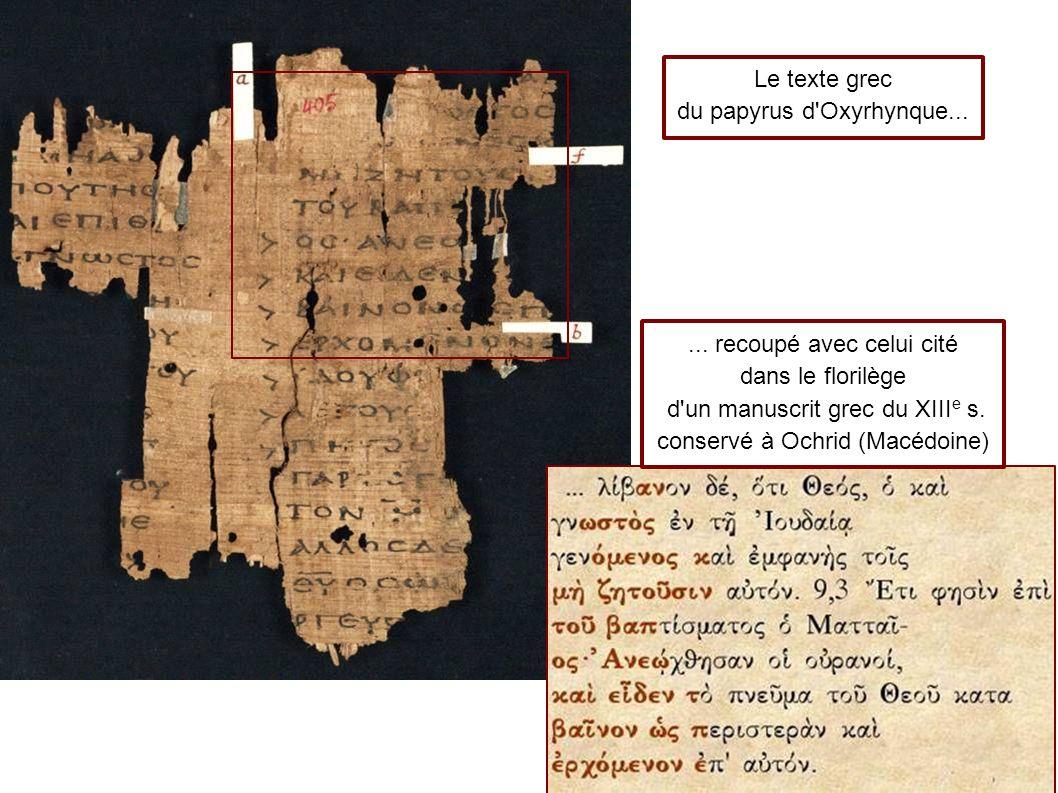 du papyrus d Oxyrhynque...
