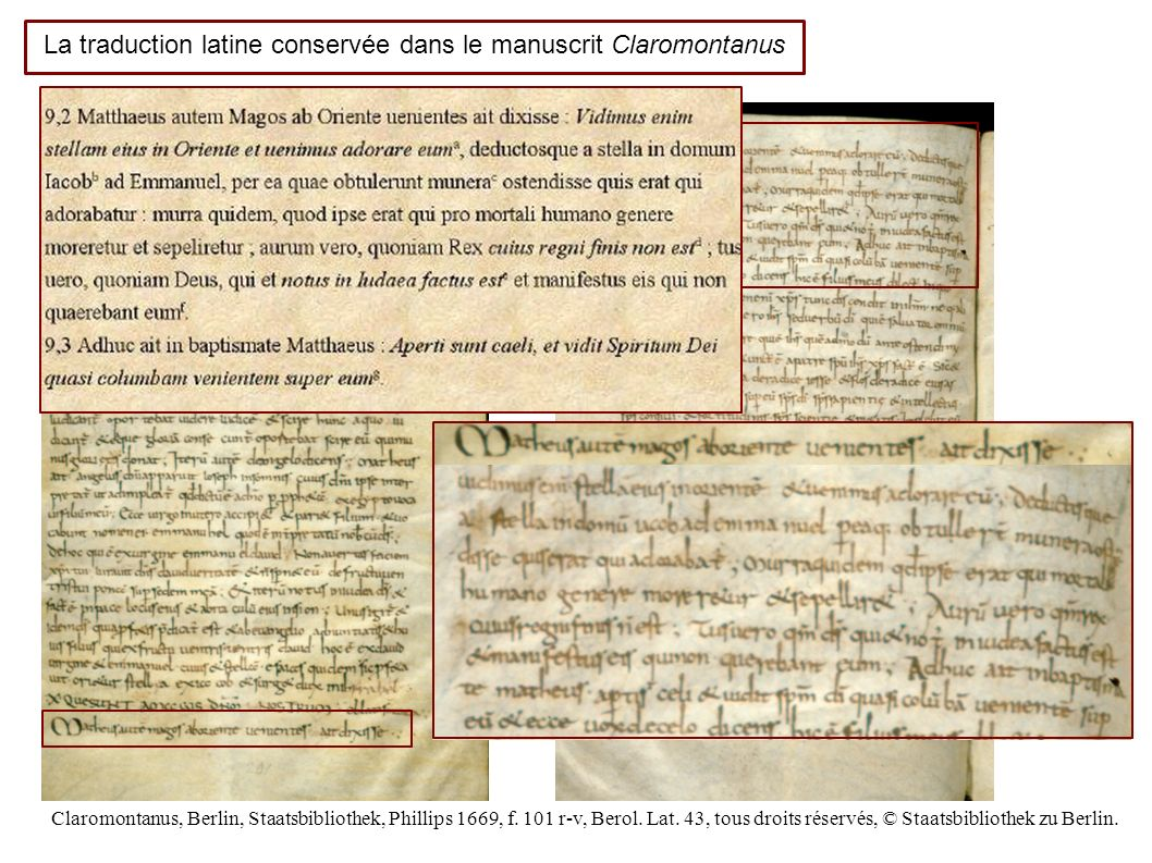 La traduction latine conservée dans le manuscrit Claromontanus