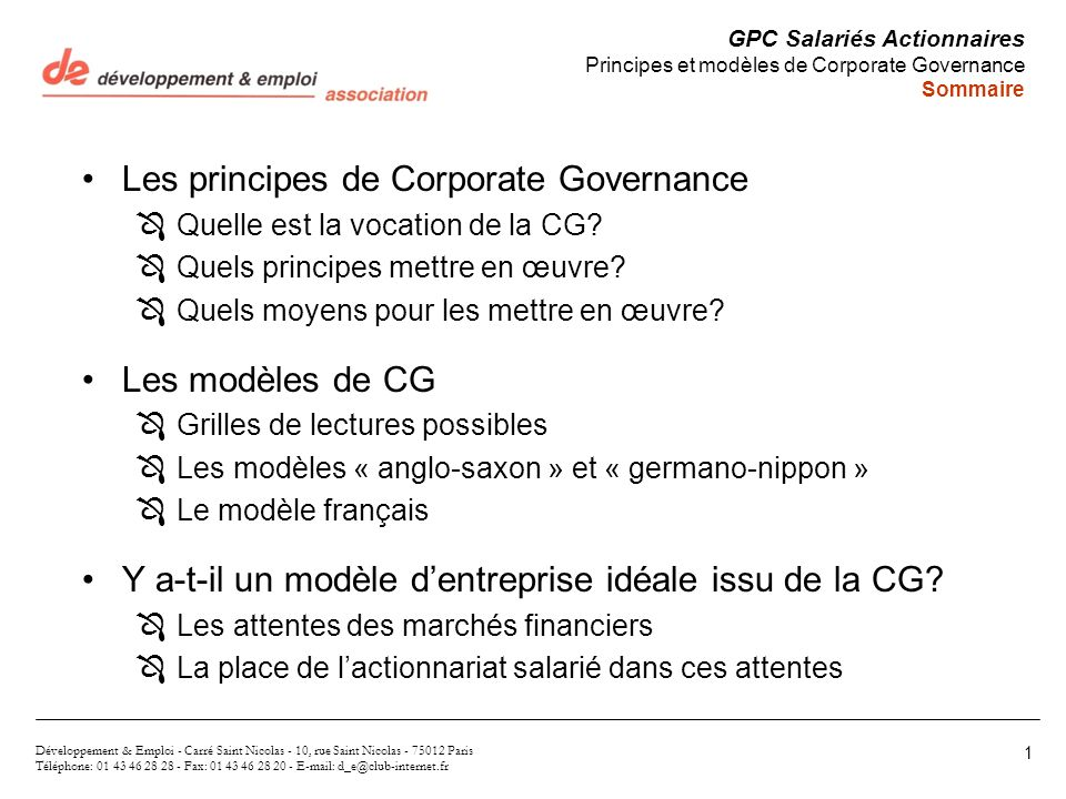 Les principes de Corporate Governance