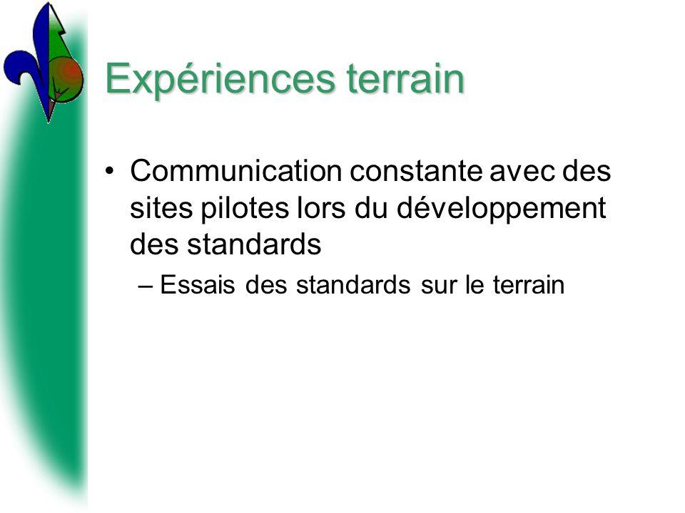 Expériences terrain Communication constante avec des sites pilotes lors du développement des standards.