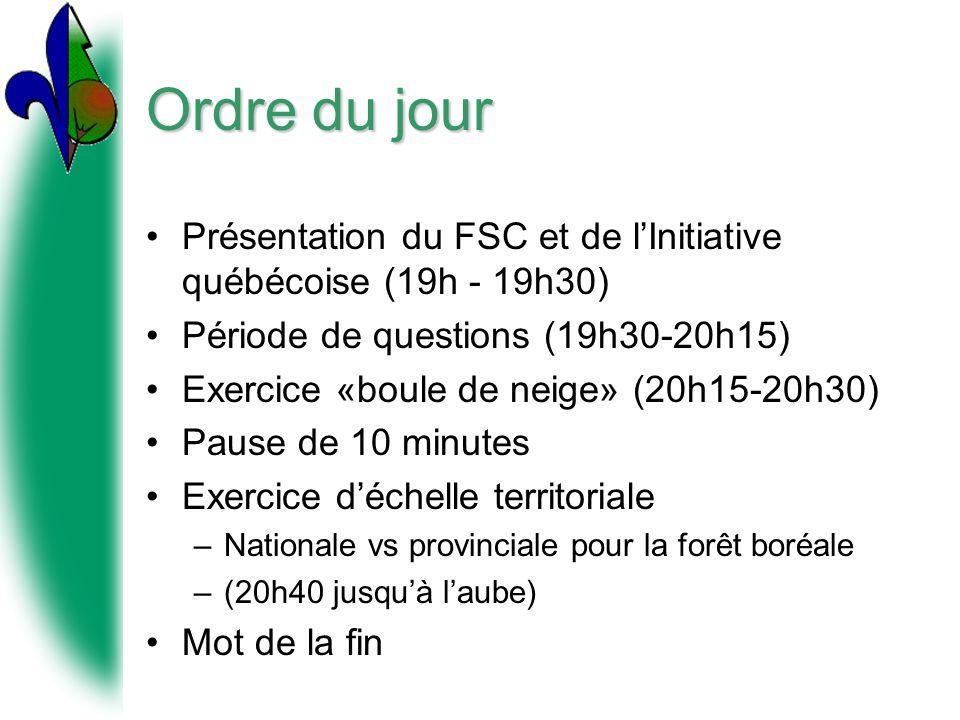 Ordre du jour Présentation du FSC et de l'Initiative québécoise (19h - 19h30) Période de questions (19h30-20h15)