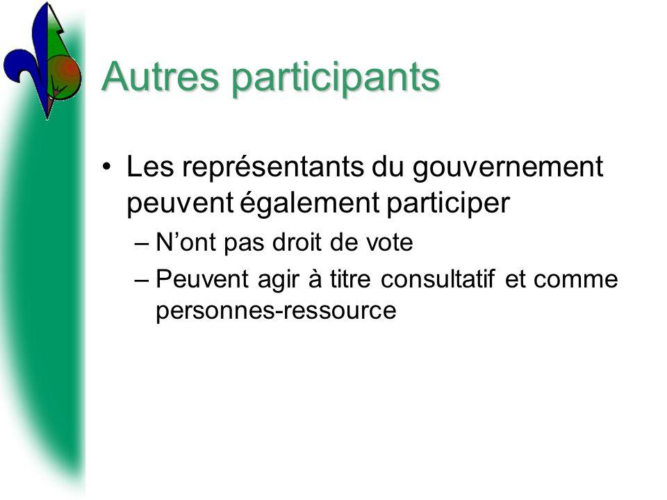 Autres participants Les représentants du gouvernement peuvent également participer. N'ont pas droit de vote.