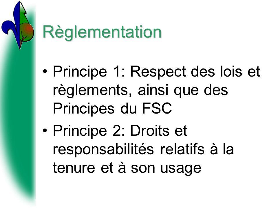 Règlementation Principe 1: Respect des lois et règlements, ainsi que des Principes du FSC.