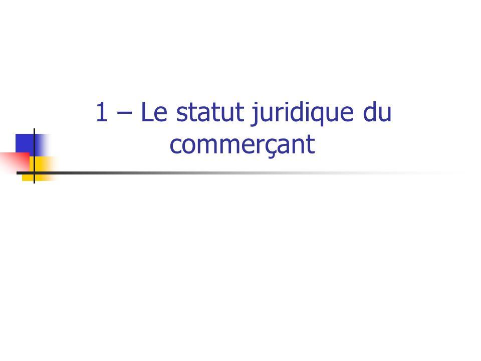 1 – Le statut juridique du commerçant