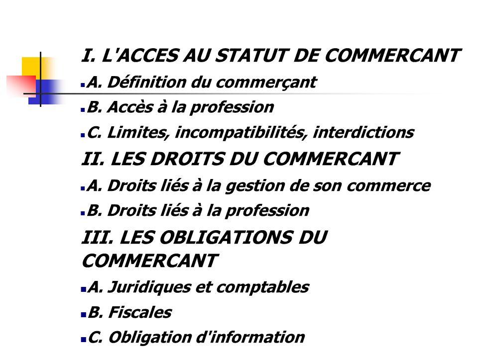 I. L ACCES AU STATUT DE COMMERCANT