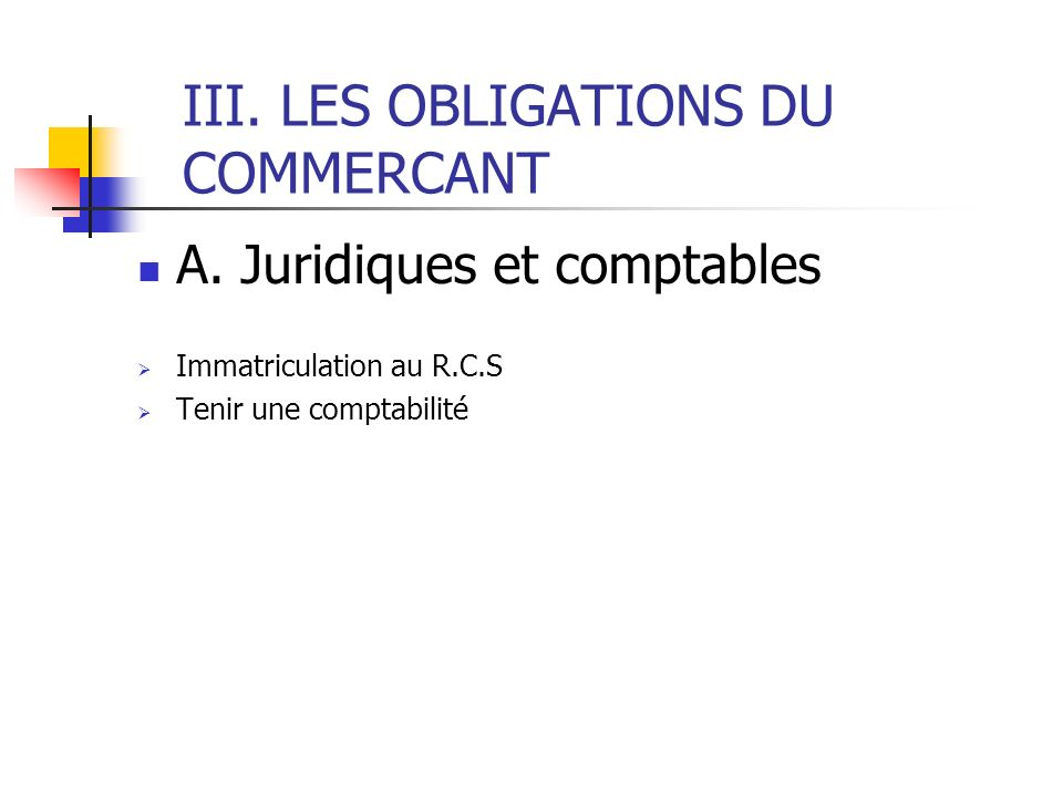 III. LES OBLIGATIONS DU COMMERCANT