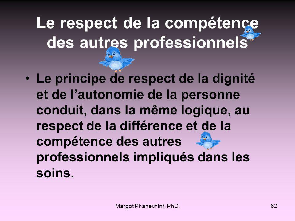 Le respect de la compétence des autres professionnels