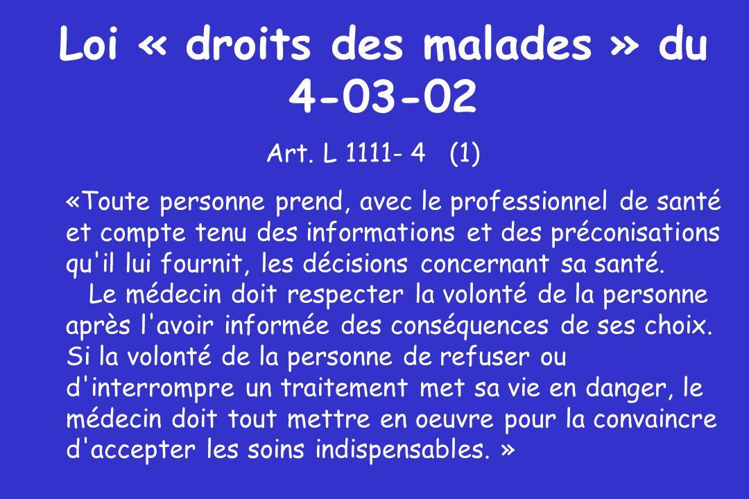 Loi « droits des malades » du 4-03-02