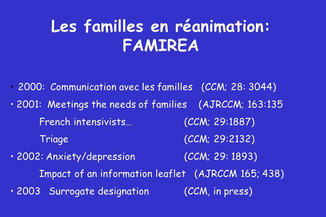Les familles en réanimation: FAMIREA