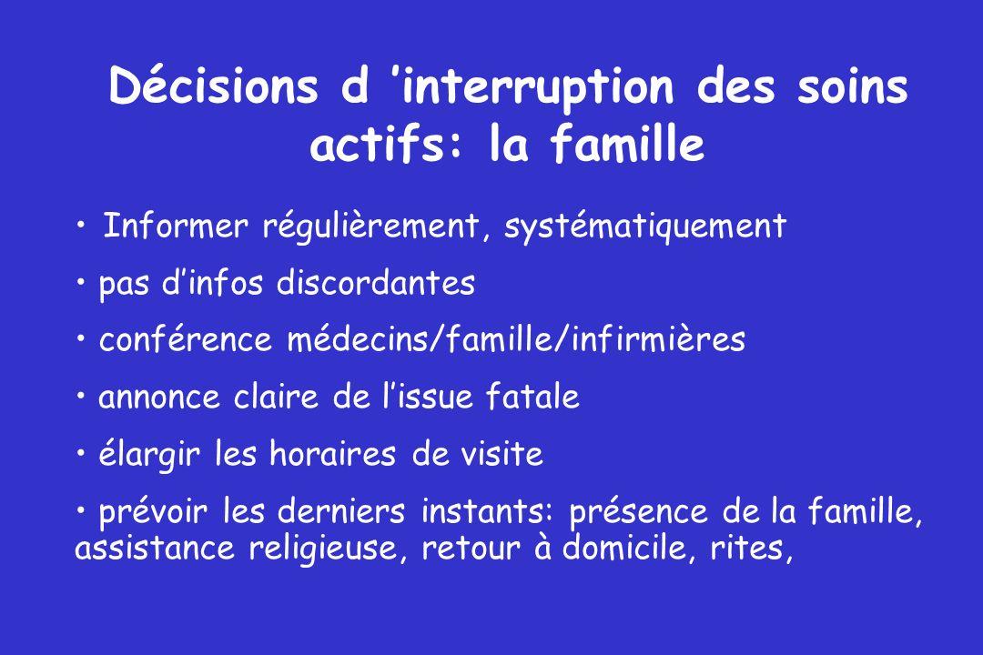 Décisions d 'interruption des soins actifs: la famille