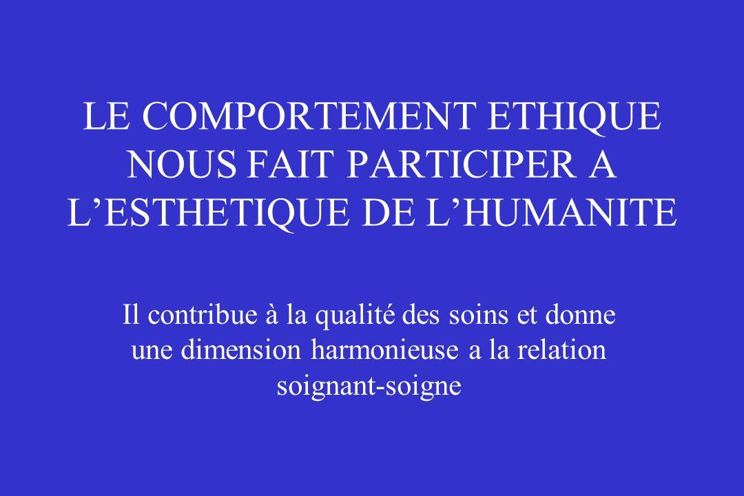 LE COMPORTEMENT ETHIQUE NOUS FAIT PARTICIPER A L'ESTHETIQUE DE L'HUMANITE