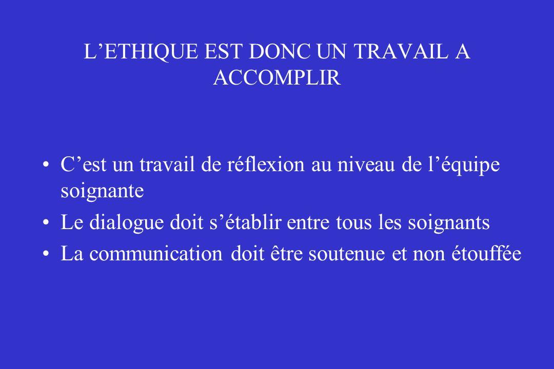 L'ETHIQUE EST DONC UN TRAVAIL A ACCOMPLIR