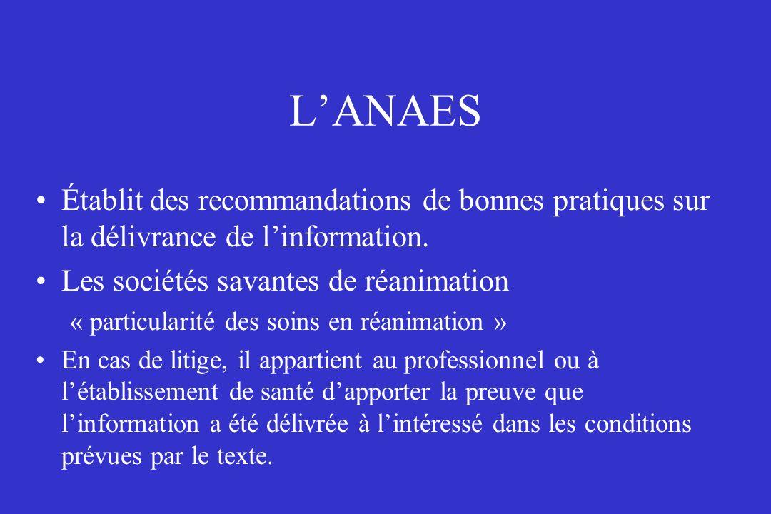L'ANAES Établit des recommandations de bonnes pratiques sur la délivrance de l'information. Les sociétés savantes de réanimation.