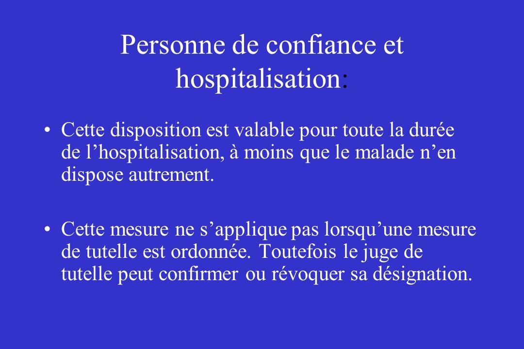 Personne de confiance et hospitalisation: