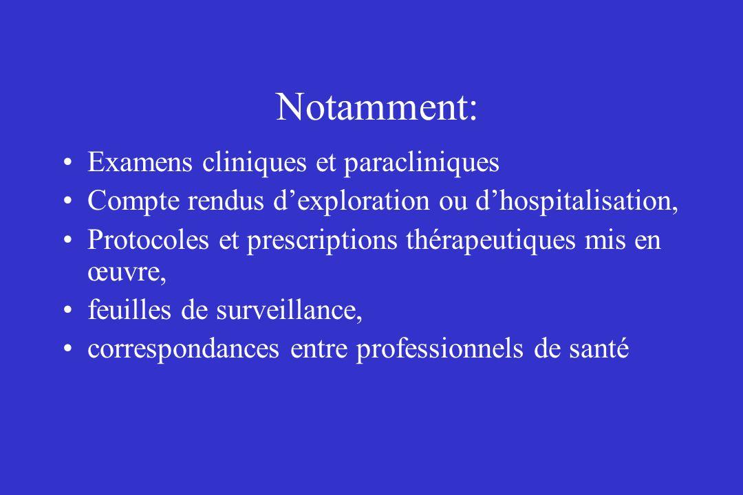 Notamment: Examens cliniques et paracliniques