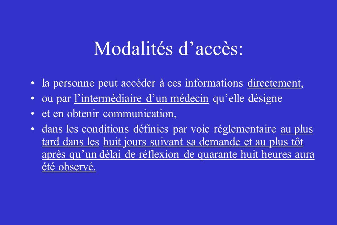Modalités d'accès: la personne peut accéder à ces informations directement, ou par l'intermédiaire d'un médecin qu'elle désigne.