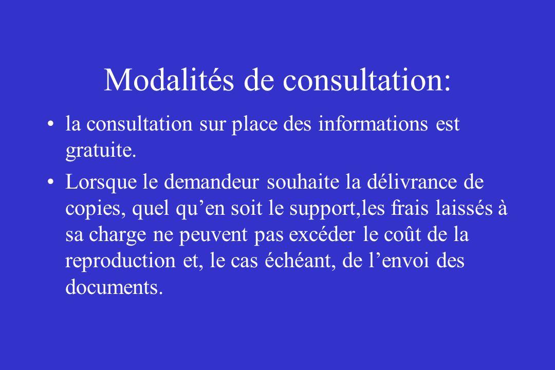 Modalités de consultation: