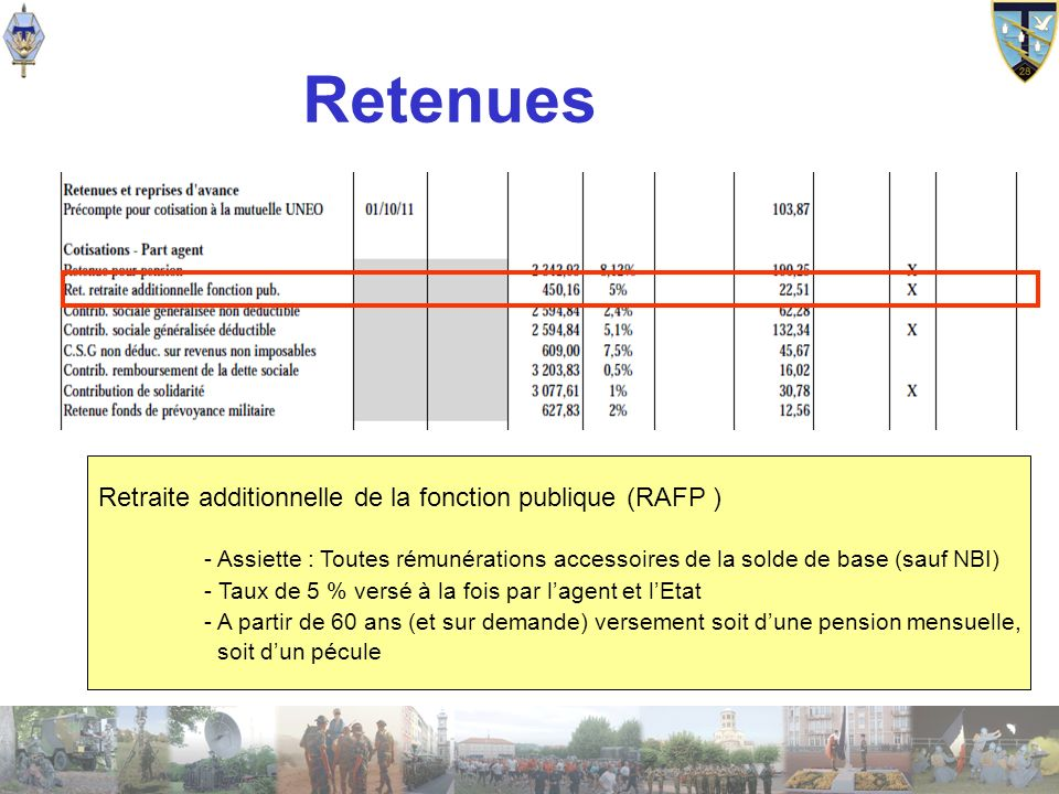 Retenues Retraite additionnelle de la fonction publique (RAFP )