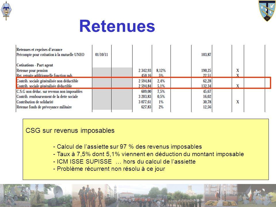 Retenues CSG sur revenus imposables