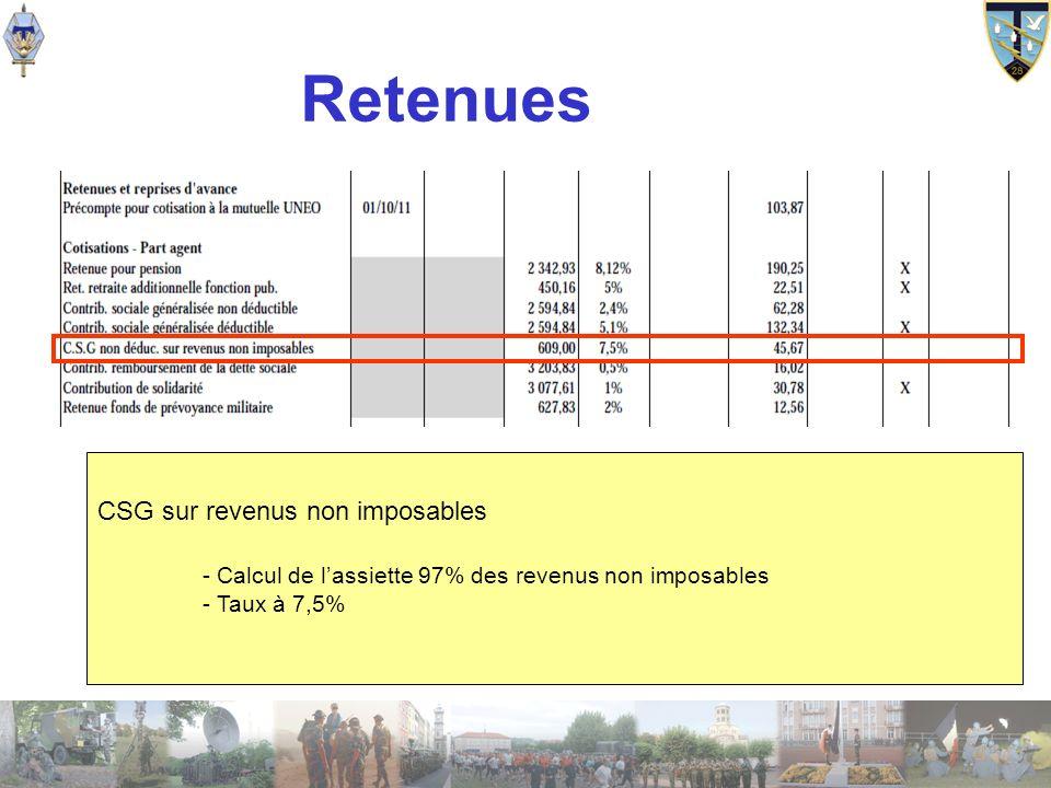 Retenues CSG sur revenus non imposables