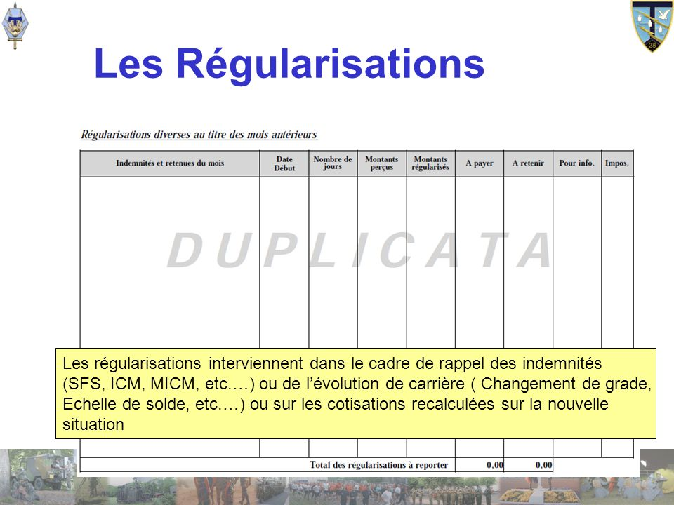 Les Régularisations Les régularisations interviennent dans le cadre de rappel des indemnités.