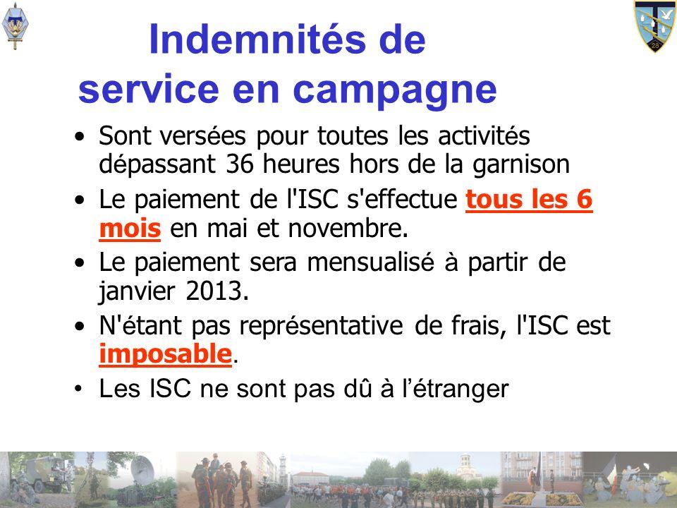 Indemnités de service en campagne